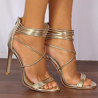 Shoe Closet Ladies Eloise-2 Gold Metallic Barely There Strappy Sandals High Heels