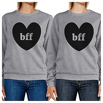 Bff Hearts Unisex Grey Matching Sweatshirt Unique Friends Gift Idea