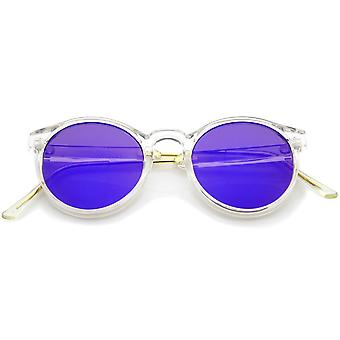 Clear Frame Metal Temple Color Mirror Flat Lens P3 Round Sunglasses 49mm