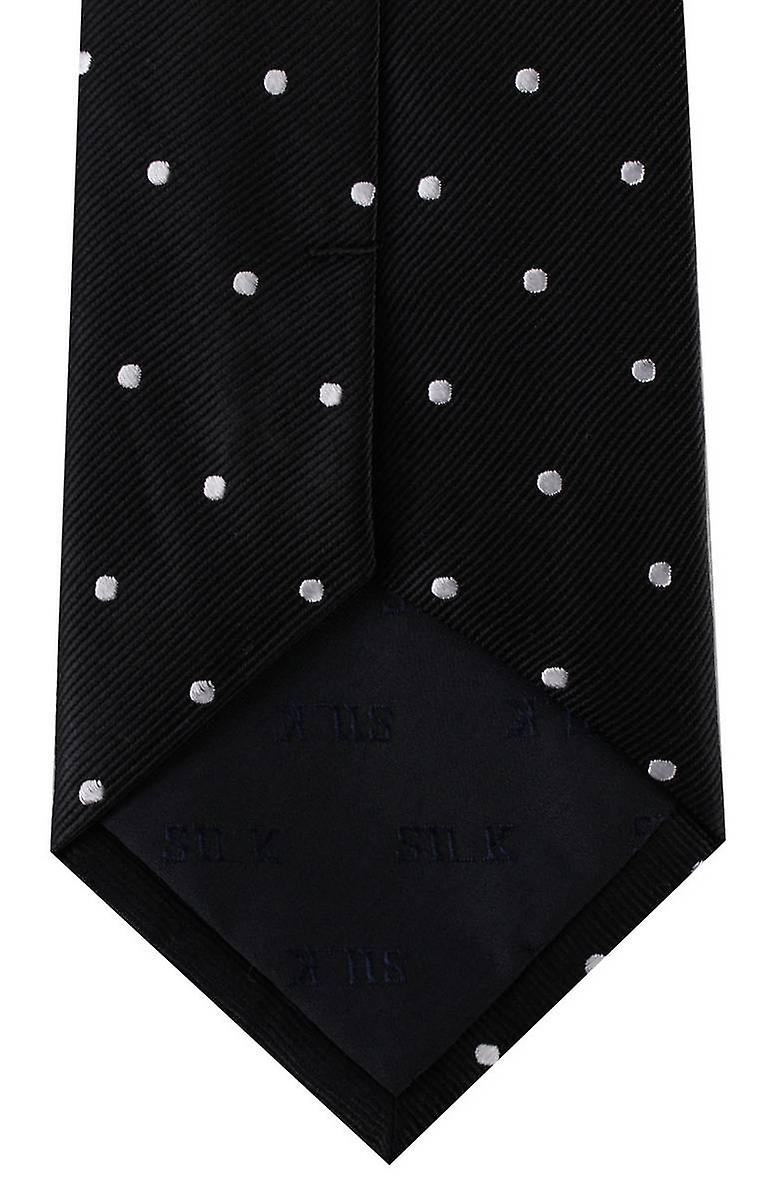 David Van Hagen Polka Dot Tie - Black/Silver