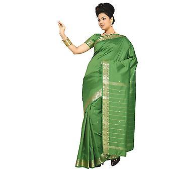 Forest Green Kunst Seide Sari Sari Stoff Indien goldene Grenze