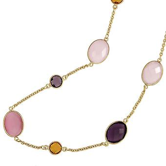 Necklace 925 sterling silver Rose Quartz Amethyst Madeira citrine 50 cm carabiner