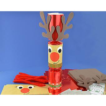 8 Red Foil Standy Uppy Rudolph Make Your Own Christmas Crackers Kit
