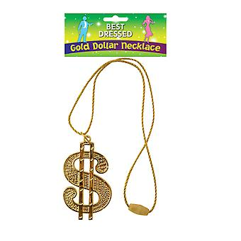 Adult Gangster/Rapper Gold Dollar Necklace With Cord 67cm