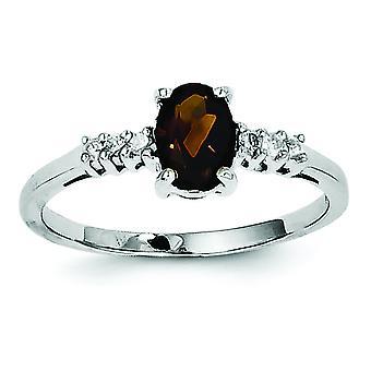 Sterling Silver Rhodium Smokey Quartz and Diamond Ring - Ring Size: 6 to 8