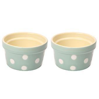 Dexam Set of 2 Polka Dot Ramekins, Sage Green