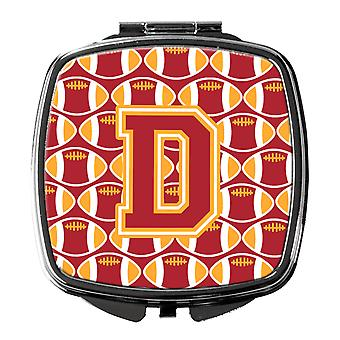 Letter D Football Cardinal and Gold Compact Mirror