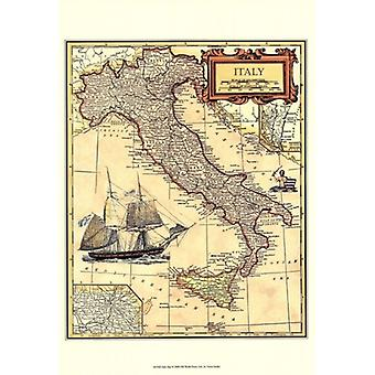 Italy Map Poster Print by Vision studio (13 x 19)