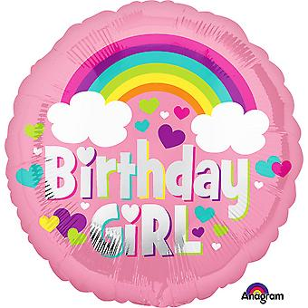 Anagram 18 Inch Birthday Girl Rainbow Circle Foil Balloon