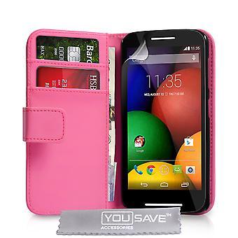 Motorola Moto E Leather-Effect Wallet Case - Hot Pink