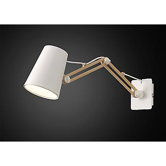 Looker Wall Lamp Switched 1 Light E27 Double Arm White/Beech