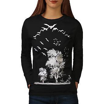Fugl frihed flyve kvinder BlackLong ærmet T-shirt | Wellcoda