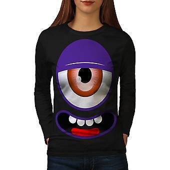 Monster Face Cute Funny Women BlackLong Sleeve T-shirt   Wellcoda