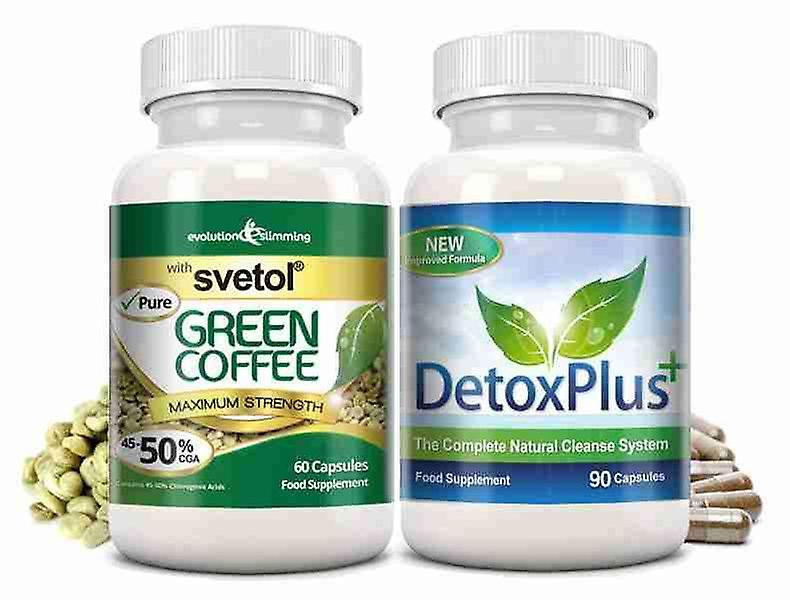 Pure Svetol Green Coffee Bean 50% CGA and Detox Cleanse Pack - 1 Month Supply - Fat Burner and Colon Cleansing - Evolution Slimming