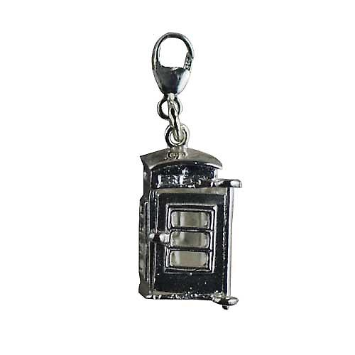 Silver 18x8mm opening phonebox Charm on a lobster trigger