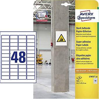 Avery-Zweckform L7873-20 Labels (A4) 45.7 x 21.2 mm Paper