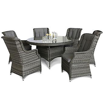 Maze Rattan Victoria 6 Seat Round Dining Set With Highback Armchairs