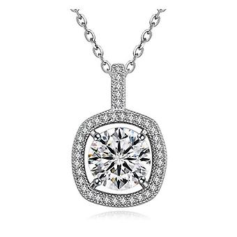 Ladies Square Large Crystal Stone Pendant Necklace