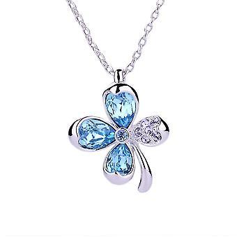 Wisiorek elementy niebieski Swarovski Crystal clover i płyta Rhodium
