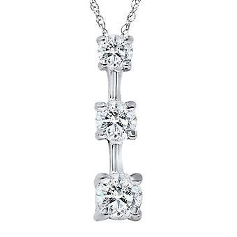1 1/4ct Three Stone Real Diamond Pendant 14K White Gold