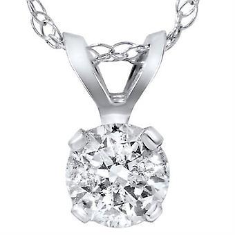 1 / 3ct solitario diamante ciondolo 14 carati oro bianco