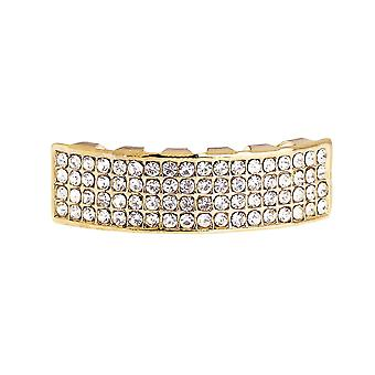 One Size Fits All Bling Grillz - FOUR LINE BOTTOM - Gold