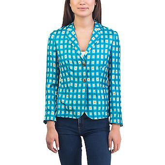 Prada Women's Silk Diamond patroon jas Teal