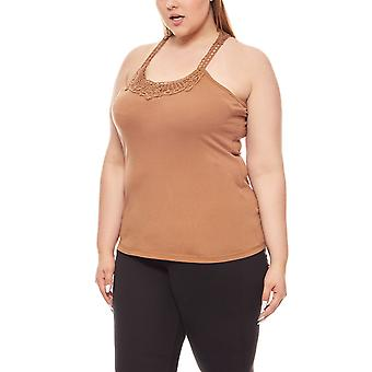 Tamaris top lace insert ladies plus size Brown
