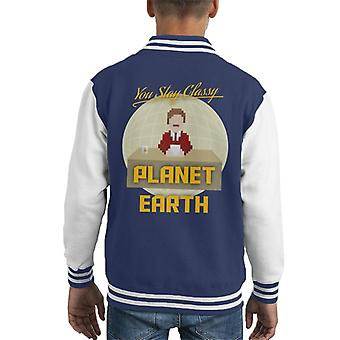Anchorman Ron Burgundy Pixellated Stay Classy Kid's Varsity Jacket
