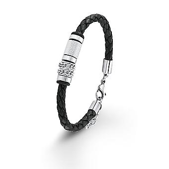 s.Oliver jewel mens leather bracelet stainless steel SO1197/1 - 9076369