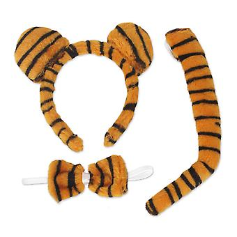 Tiger set 3 PCs headband with ears bow tie tail animal costume cat accessory