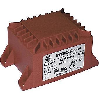 PCB mount transformer 1 x 230 V 1 x 24 V AC 16 VA 667 mA 85/385 Weiss Elektrotechnik