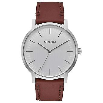 Nixon The Porter Leather Watch - Brown/Silver