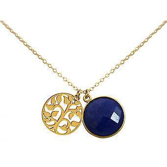 Gemshine - damer--hänge - livets träd halsband - 925 silver pläterad - safir - blått - 45 cm