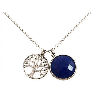 Gemshine - dames--hanger - levensboom ketting - 925 zilver - sapphire - blauw - 45 cm