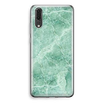 Huawei P20 Transparent Case - Green marble