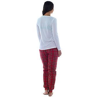 Las mujeres Foxbury Tartan conejo imprime pijama Top Jersey largo