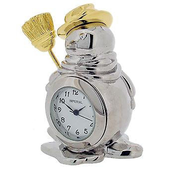 Gift Time Products Snowman Mini Clock - Silver/Gold