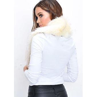 Imiteret pels krave tørklæde creme hvid