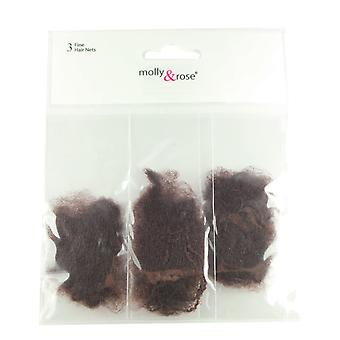 Molly & Rose Fine Hair Net 3pk Brown