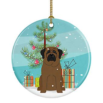Carolines schatten BB4209CO1 Merry Christmas Tree Bullmastiff keramische Ornament