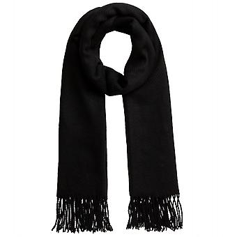 pieces of cuddly soft ladies wool scarf with fringe black