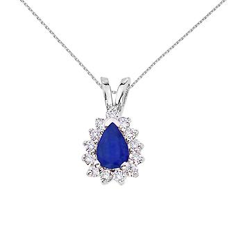 14k White Gold 6x4 mm Pear Shaped Sapphire and Diamond Pendant with 18