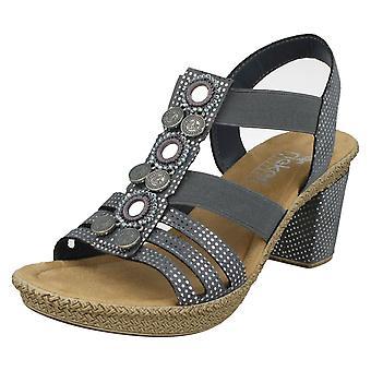 Damskie Rieker Slingback Heeled sandały rozmiar UE niebieski syntetyczny Combi - UK rozmiar 4 - 66527-12 - 37 - USA rozmiar 6
