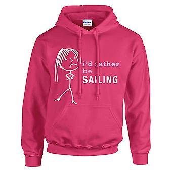 Ladies I'd Rather Be Sailing Hoodie Hot Pink Hoody