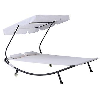 Outsunny Double Hammock Sun Lounger Bed Canopy Shelter Wheels 2 Pillows Patio Cream White