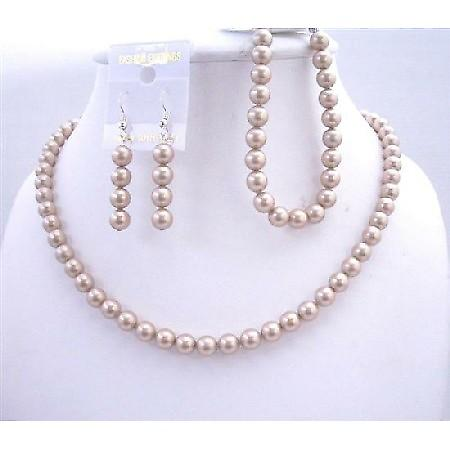 Handcrafted Swarovski Champagne Pearls Necklace Earrings Bracelet Sets