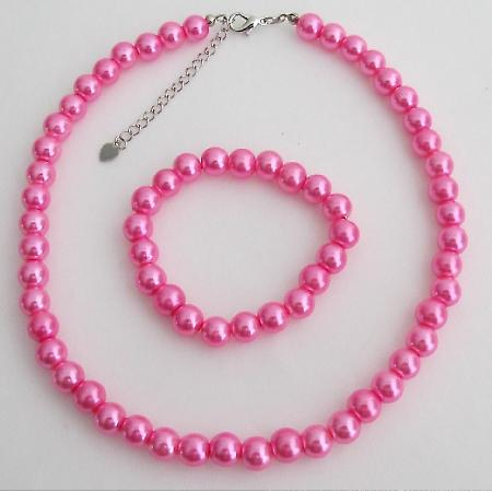Hot Pink Flower Girl Jewelry Set  Pearl Necklace And Stretchable Bracelet