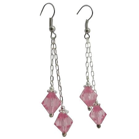 Pink Crystals Dangling Double Strings Earrings 8mm Bicone Earrings