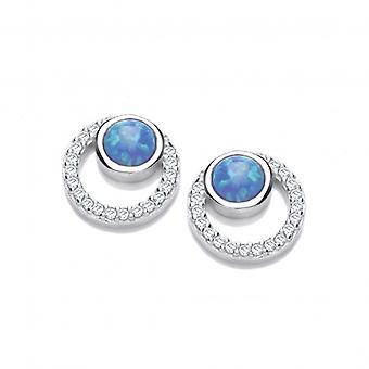 Cavendish francuski srebrna, CZ i Opalique niebieskie kolczyki koła